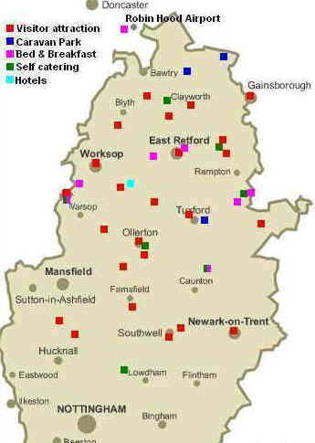 click through for nottinghamshire, sherwood forest, dukeries, retford, worksop and newark tourist attractions and accommodation map